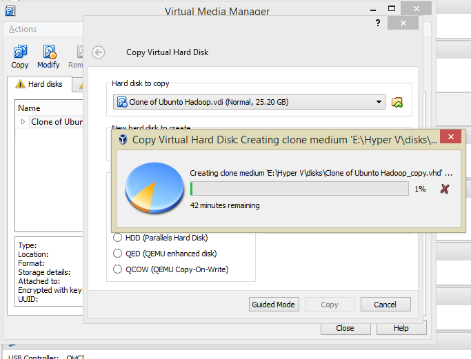 Converting VirtualBox  vdi diskfiles to Hyper-V  vhd files